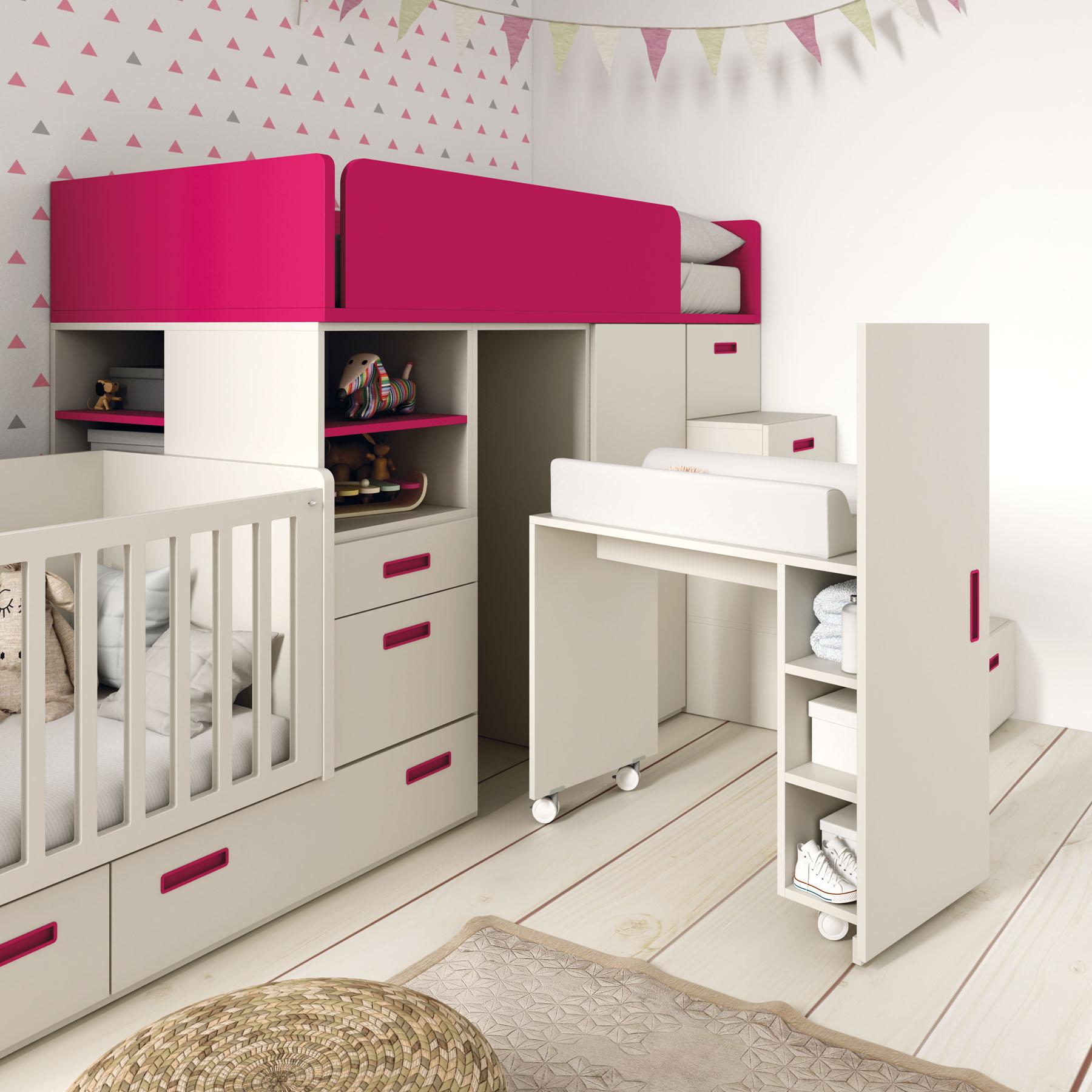 Atractivo Cunas Con Muebles Cambiador Composición - Muebles Para ...