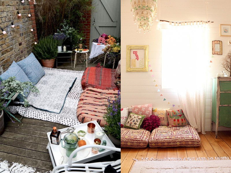 muebles salon moderno cojines suelo