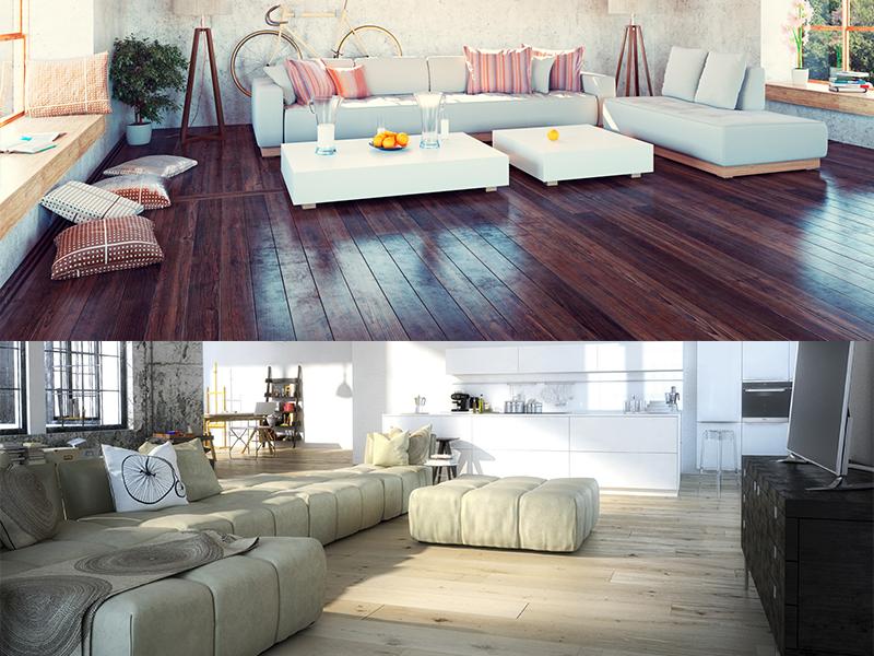 mueble salon moderno sin alfombra